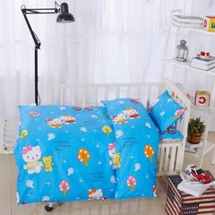 全棉卡通儿童套件不加棉(KT猫 蓝) 110*150 棉花芯六件套:被芯(2.5斤)