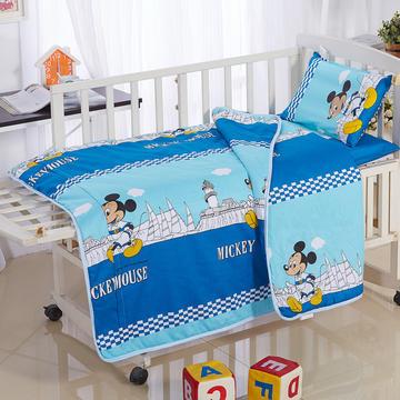 全棉卡通儿童套件夹棉(米奇城堡)