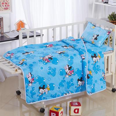 全棉卡通儿童套件夹棉(米奇泡泡 蓝) 110*150 三件套