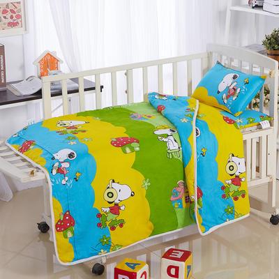 全棉卡通儿童套件夹棉(蘑菇史努比) 110*150 三件套