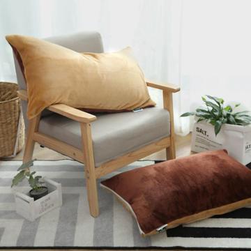 来菲家纺加厚金貂绒保暖枕套 拉链枕头套素色双拼 单只