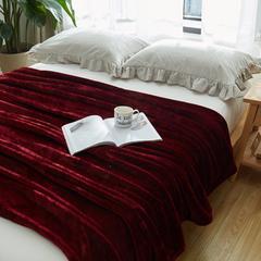 毛毯毯子320克纯色金貂绒毛毯-加导电丝 100*120cm 酒红