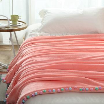 毛毯毯子萌系球球花边毯双层纯色韩式毛球毯