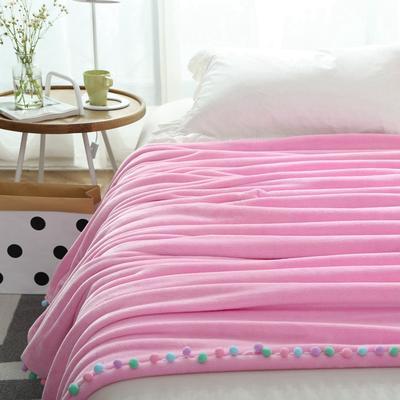 毛毯毯子萌系球球花边毯双层纯色韩式毛球毯 150*200cm 单层2斤 樱花粉