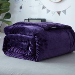 来菲家纺加厚纯色毛毯毯子金貂绒+羊羔绒双层毯保暖盖毯 100*120cm 宝石紫新款