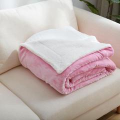 来菲家纺加厚纯色毛毯毯子金貂绒+羊羔绒双层毯保暖盖毯 100*120cm 粉白