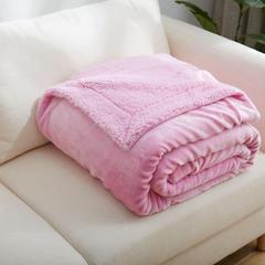 来菲家纺加厚纯色毛毯毯子金貂绒+羊羔绒双层毯保暖盖毯 100*120cm 粉色