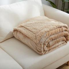 来菲家纺加厚纯色毛毯毯子金貂绒+羊羔绒双层毯保暖盖毯 100*120cm 卡其