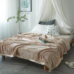 毛毯毯子400克云貂绒来菲家纺家纺纯色珊瑚绒素色法莱绒 150*230cm 法式香草驼