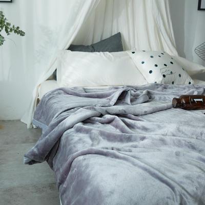 毛毯毯子400克云貂绒来菲家纺家纺纯色珊瑚绒素色法莱绒 150*230cm 古堡鲨鱼灰