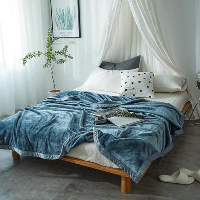 毛毯毯子400克云貂绒来菲家纺家纺纯色珊瑚绒素色法莱绒 150*230cm 尼亚加拉蓝