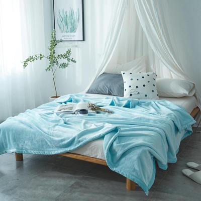 毛毯毯子400克云貂绒来菲家纺家纺纯色珊瑚绒素色法莱绒 150*230cm 水色天空蓝