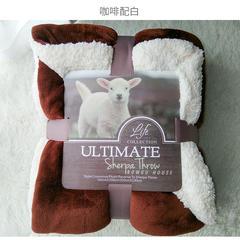 来菲家纺加厚纯色毛毯毯子金貂绒+羊羔绒双层毯保暖盖毯 100*120cm 咖加白