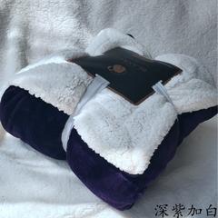 来菲家纺加厚纯色毛毯毯子金貂绒+羊羔绒双层毯保暖盖毯 100*120cm 宝石紫加白