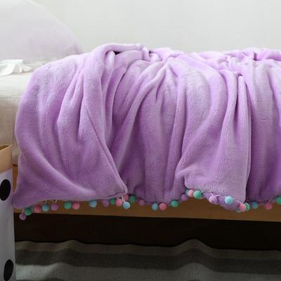 毛毯毯子萌系球球花边毯双层纯色韩式毛球毯 150*200cm 单层2斤 雪青色