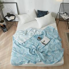 来菲2018新款水洗棉纱布毛巾夏被全棉空调被 150*220cm 蓝树叶