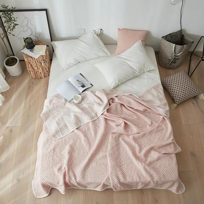 来菲2018新款水洗棉纱布毛巾夏被全棉空调被 150*220cm 三角_粉玉