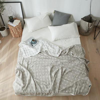 简约经典水洗棉纱布毛巾夏被全棉空调被四层纱纱布被婴幼儿可用 200*220cm 四叶草_灰