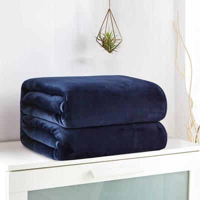 2018新款来菲毯业320克金貂绒毛毯纯色加厚法莱绒毯子素色盖毯 100*120cm 藏蓝