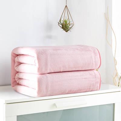 2018新款来菲毯业320克金貂绒毛毯纯色加厚法莱绒毯子素色盖毯 100*120cm 粉玉