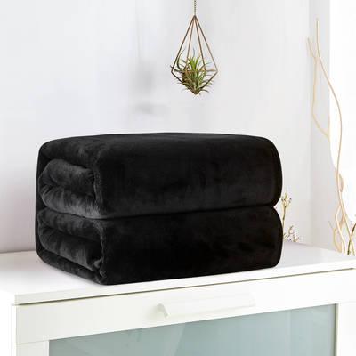 2018新款来菲毯业320克金貂绒毛毯纯色加厚法莱绒毯子素色盖毯 100*120cm 黑色