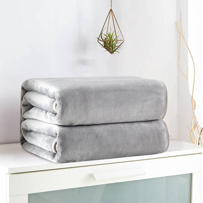 2018新款来菲毯业320克金貂绒毛毯纯色加厚法莱绒毯子素色盖毯 100*120cm 灰色