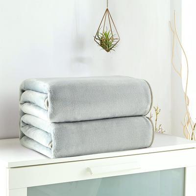 2018新款来菲毯业320克金貂绒毛毯纯色加厚法莱绒毯子素色盖毯 100*120cm 灰绿