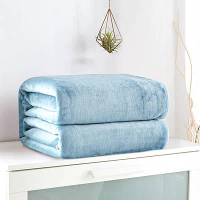 2018新款来菲毯业320克金貂绒毛毯纯色加厚法莱绒毯子素色盖毯 100*120cm 灰兰