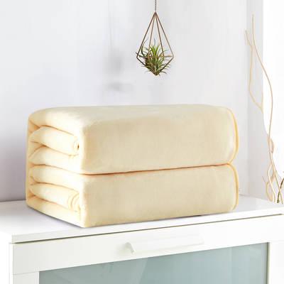 2018新款来菲毯业320克金貂绒毛毯纯色加厚法莱绒毯子素色盖毯 100*120cm 米白
