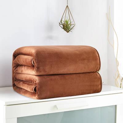 2018新款来菲毯业320克金貂绒毛毯纯色加厚法莱绒毯子素色盖毯 100*120cm 咖啡