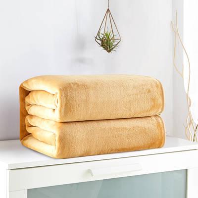 2018新款来菲毯业320克金貂绒毛毯纯色加厚法莱绒毯子素色盖毯 100*120cm 驼色