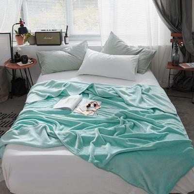 320克金貂绒纯色毛毯20新款加厚毯子沙发毯保暖毯子素色来菲经典款 100*120 薄荷绿