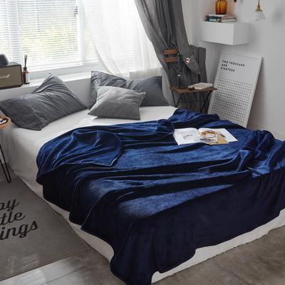 320克金貂绒纯色毛毯20新款加厚毯子沙发毯保暖毯子素色来菲经典款 100*120 藏蓝