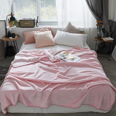 320克金貂绒纯色毛毯20新款加厚毯子沙发毯保暖毯子素色来菲经典款 120*200 粉玉
