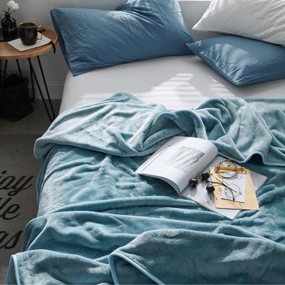 320克金貂绒纯色毛毯20新款加厚毯子沙发毯保暖毯子素色来菲经典款 120*200 灰兰