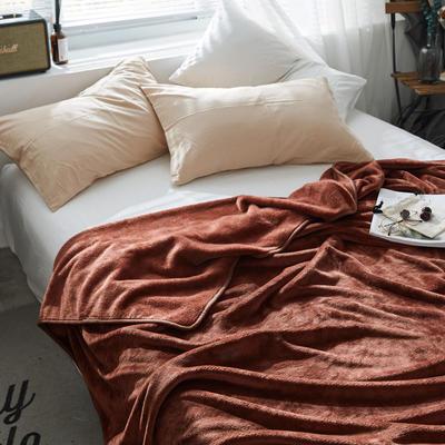 320克金貂绒纯色毛毯20新款加厚毯子沙发毯保暖毯子素色来菲经典款 100*120 咖啡