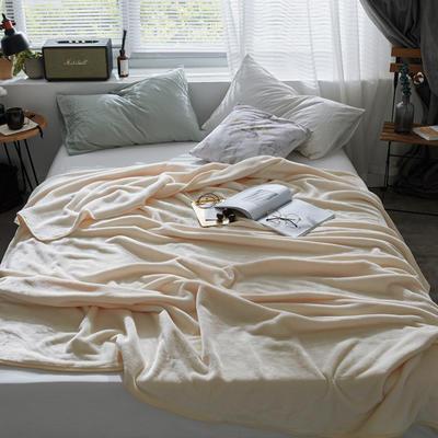 320克金貂绒纯色毛毯20新款加厚毯子沙发毯保暖毯子素色来菲经典款 120*200 米黄