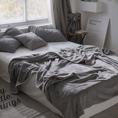 320克金貂绒纯色毛毯20新款加厚毯子沙发毯保暖毯子素色来菲经典款 120*200 水银灰