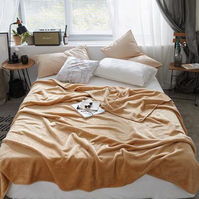 320克金貂绒纯色毛毯20新款加厚毯子沙发毯保暖毯子素色来菲经典款 100*120 驼色