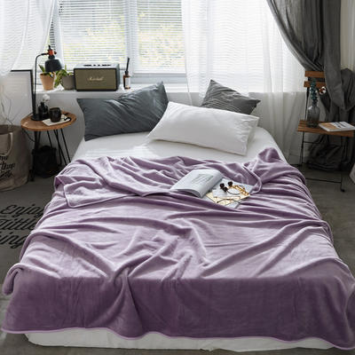 320克金貂绒纯色毛毯20新款加厚毯子沙发毯保暖毯子素色来菲经典款 120*200 紫色