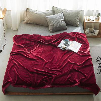 来菲家纺加厚纯色毯子秋冬盖毯400克紫貂绒毛毯2019新拍12色 150*230cm 波多黎各红