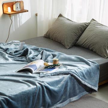 400克紫貂绒毛毯2018新拍 150*230cm 尼亚加拉蓝