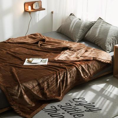 来菲家纺加厚纯色毯子秋冬盖毯400克紫貂绒毛毯2019新拍12色 150*230cm 圣地亚哥咖