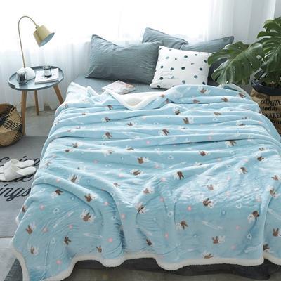 来菲毯业双层复合印花羊羔绒加厚冬季外贸保暖珊瑚绒毛毯法兰绒毯子 150*200CM 爱丽丝