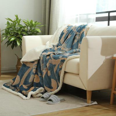 20新款复合印花羊羔绒双层毛毯加厚秋冬毯子可铺可盖多功能 150*200cm 布鲁斯