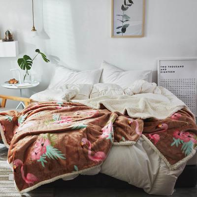 2019新款复合印花羊羔绒双层毛毯加厚秋冬毯子可铺可盖多功能 100*120cm 佛明哥