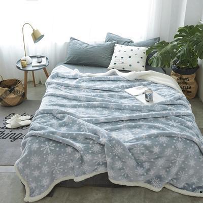 2019新款复合印花羊羔绒双层毛毯加厚秋冬毯子可铺可盖多功能 100*120cm 丝诺