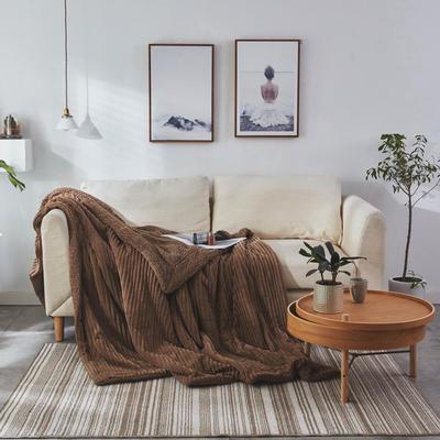 来菲家纺2019新款魔法条纹双层羊羔绒毯加厚毛毯特厚双层毯子秋冬新品 100*120cm 魔法绒咖啡