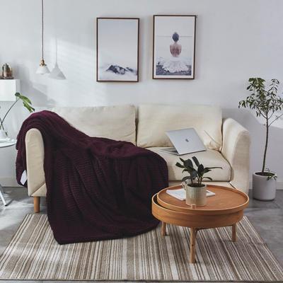 来菲家纺2019新款魔法条纹双层羊羔绒毯加厚毛毯特厚双层毯子秋冬新品 100*120cm 魔法绒紫红