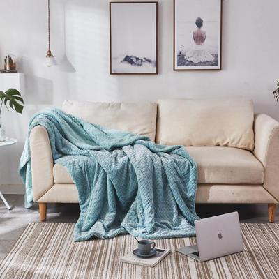 来菲毛毯2019新品加厚双层秋冬绒毯保暖毯子纯色铺盖沙发床用多功能 100*120cm 童薄荷